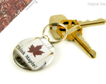 Think Maple Keychain - Maroon Sparkly Key Chain - Maple Leaf Key Ring - Glitter Keychain - Made In Vermont - Vermont Maple Syrup