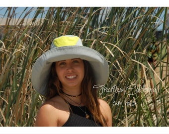 Unique Sun Hat with Wide Brim in Grey and Green Abstract by  Freckles California