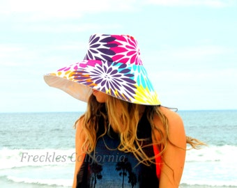 Chic Sun Hat Very Colorful Wide Brm Sun Hat Summer hat Gardening Big Bold Large Brim Vacation Pool Sun Hat Beach Hat by Freckles California