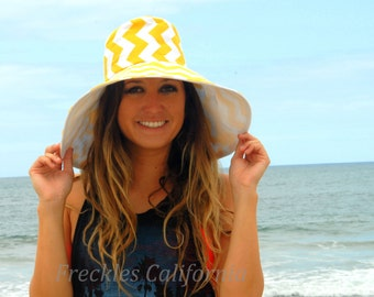 Summer Yellow Wide Brim Sun Hat Gardening Gift for Mom Seaside Sun Hat Great hat for Vacation by Freckles California
