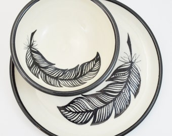 Hand Painted Porcelain Black and White Feather Bowl & Plate Set