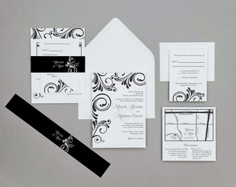 Damask Wedding Invitations,Contemporary Damask Wedding Invitations,Modern Black and White wedding invites,Custom Wedding Invites