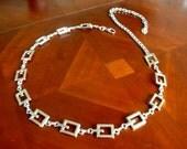 Vintage Designer GUESS Square Linked Metal Belt Silver Chain Link Belt Versitle Size