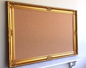 Office Organizer CORK BOARD 30x42 Gold Framed Bulletin Board Wedding Seating Card Pin Board Decorative Memo Board Corkboard READY to SHiP