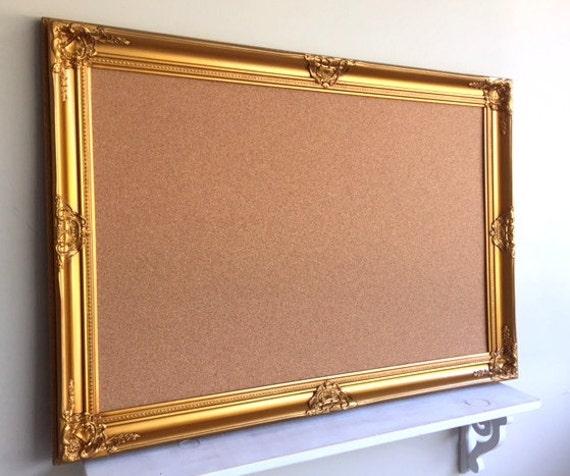 Office Organizer Cork Board Huge 30x42 Gold Framed By