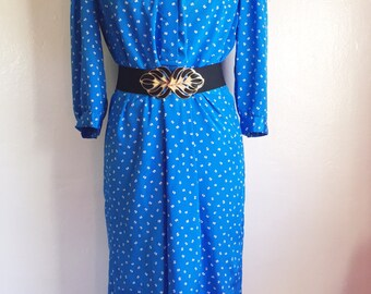 Vintage white print/ blue secretary dress