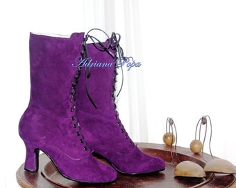Royal Purple Shoes Victorian Boots Royal Purple Victorian Boots Edwardian boots Stage boots Custom Stage boots Ankle purple Boots