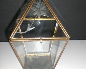 Brass and glass display case, curio case, shadow box