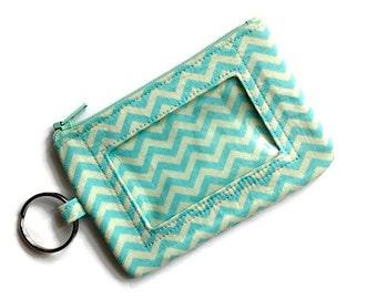 Keychain ID Wallet Student ID Holder ID Wallet Id Badge Holder Card Wallet Keychain Coin Purse Zipper Id Case Chevrons Aqua Cream