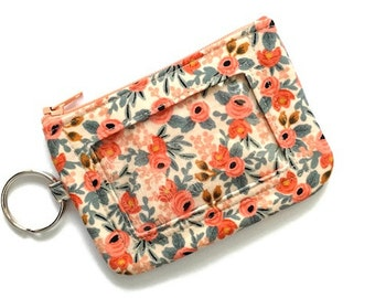 ID Wallet w/Keychain/Student ID Holder/Id Name Badge Holder/Keychain Coin Purse/Id Case/Card Case/Sm Wallet/Flowers Cream Coral Blues Calico