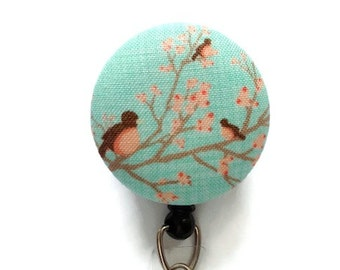 Retractable ID Badge/Id Reel/ID Badge Holder/Badge Reel/Retractable Lanyard/Id Holder/Nurses Key Card Holder/Birds/Mint Peach