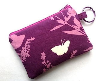 Keychain Coin Purse Zipper Keychain Pouch Padded Camera Case Change Purse Cosmetic Case Card Wallet Small ClutchButterflies & Birds Plums
