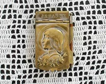 Antique French Brass Aide de Memoire with Original Pencil Saint Jean d'Arc Living Joan of Arc Catholic Maid of Orleans Photo Prop