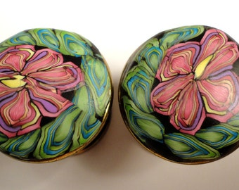 Cabinet Knobs Pulls  6 Unique Handmade Polymer Clay  Metal   Decorative dresser drawer knobs  Bathroom cabinet knob  Black Mauve Green
