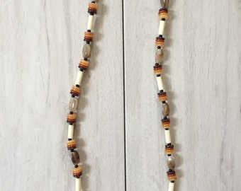 1960s beaded necklace / geometric mod necklace