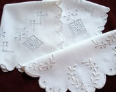Vintage 3pc White Linens Doily Table Placemats Whitework Broderie Anglaise