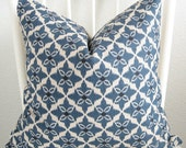 Blue beige black ikat 18x18 decorative throw pillow cover