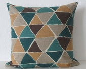 Mix Modern Jewel geometric triangles teal gold beige decorative pillow cover
