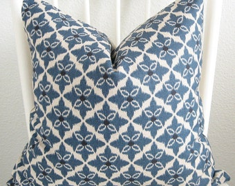 Blue beige diamond ikat 18x18 decorative throw pillow cover