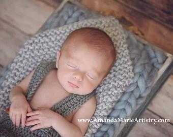Baby Blanket - Newborn Photo Prop - Gray