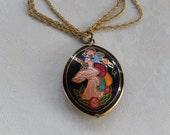 Unicorn Necklace, Vintage Pendant, Cloisonné Unicorn, Triple Vintage Chain, Mythical Horse