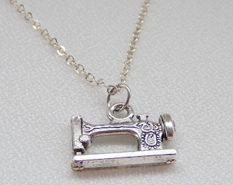 Sewing Machine Necklace, Silver Pendant, Seamstress, Gift for Her