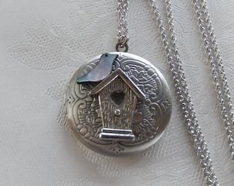 Birdhouse Locket, Bird Jewelry,  Working Locket, Gift for Her
