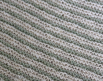 Baby Olive Green Hand Knit Organic Cotton Blanket
