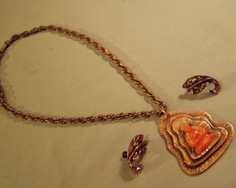 Vintage Francisco Rebajes Buddha Jade Stone Pendant Necklace & Swirl Leaf Earrings  8725
