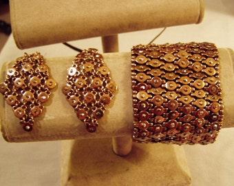 Vintage Wide Rhinestone Copper Mesh Stretch Bracelet & Matching Pierced Drop Dangle Earrings  8155