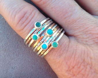 Turquoise silver and gold stacking rings