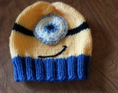 Hand Knit Minion Hat