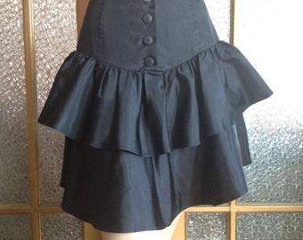 Black 80s Taffeta Peplum Skirt
