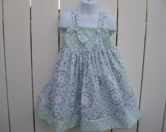 Size 5 Mint, Pink and Gray Mandala Knot Dress  READY to SHIP