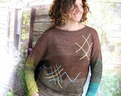 Latvian tribal symbols sweater, hand embroidered oak and well signs