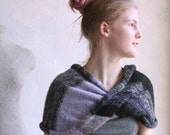 Knit Scarf - Moon Shadow - infinity wrap converts to versatile cowl snood combo