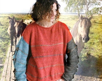 Tied panel sweater knit in soft fluffy kid mohair and cotton blended yarn
