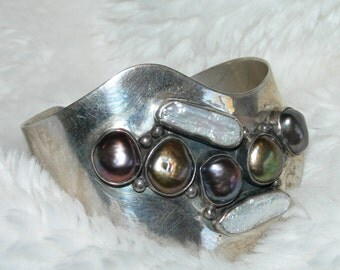 VINTAGE CUFF BRACELET Free Form Baroque Sterling Silver, Pearls, Pisces, Mermaid, Signed