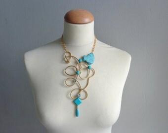 Turquoise brass gemstones statement necklace
