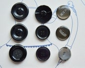 9 Vintage Buttons, Grey Buttons, Black Buttons, Mixed Buttons, Circles, Sewing Notions, Vintage Sewing Supplies, English Buttons