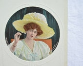 Vintage Actress Postcard, Gabrielle Ray, Edwardian,1900s, Collectible, Early Colour Postcard, Unused. Pretty Postcard, Large Hat