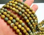 Wild horse Picture Jasper - matte  8 mm round beads - 1 full strand - 49 beads - AA quality - matte - RFG856