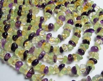 Amethyst Citrine Prehnite mix gemstone bead - full strand - pebble  chip stone - A quality - PSC170