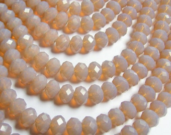 Crystal faceted rondelle - 68 pcs - 8 mm - A quality - full strand - golden beige - GSH60