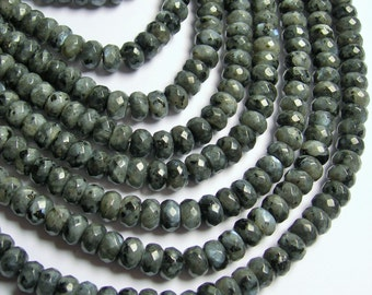 Larvikite black labradorite - 5mmx8mm faceted rondelle - full strand - 80pcs - A quality  - RFG795