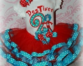 Girls Birthday 3 Piece Thing 1 or 2 Ribbon Tutu Outfit Red & Turquoise INCLUDES TuTu, Hairpiece and Top Choose Size, Number, Colors