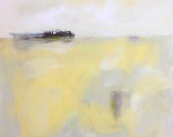 Yellow Grey Seascape Landscape Original Painting -Richardson Bay 20 x 20