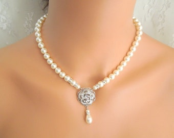 Bridal Necklace, Ivory Swarovski Pearls,Pearl Bridal Necklace,Pearl Rhinestone Necklace,Statement Bridal Necklace,Pearl, Rose, ROSELANI