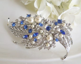 Bridal Blue Swarovski Crystal and Pearl Wedding Comb Wedding Hair Accessories Vintage Style blue wedding hair comb Pearl hair comb  ETTA