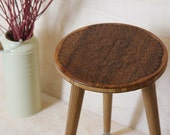 Engraved Plant Stand or Stool - Rustic Modern Mid Century Bohemian Furniture Design
